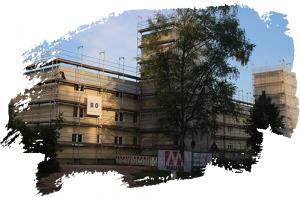 Blick auf die Baustelle eines Hauses in der Housing Area